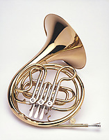 French horn shot on a white background.