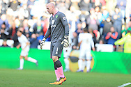 Norwich city goalkeeper John Ruddy looks on dejected as Swansea city players celebrate their goal scored by Gylfi Sigurdsson. Barclays Premier league match, Swansea city v Norwich city at the Liberty Stadium in Swansea, South Wales  on Saturday 5th March 2016.<br /> pic by  Andrew Orchard, Andrew Orchard sports photography.