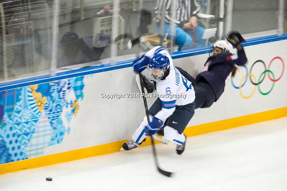 Jenni Hiirikoski (FIN) during ice hockey game vs USA at the Olympic Winter Games, Sochi 2014