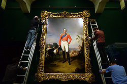 Embargoed to 0001 Friday November 02 A portrait of Nicholas I of Russia, commissioned as a gift for Queen Victoria, being installed ahead the new exhibition Russia: Royalty and the Romanovs, which opens next week at The Queen's Gallery, Buckingham Palace, London.