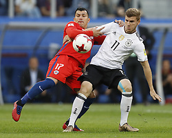 July 3, 2017 - Saint Petersburg, Russia - Gary Medel (L) of Chile national team and Timo Werner of Germany national team during FIFA Confederations Cup Russia 2017 final match between Chile and Germany at Saint Petersburg Stadium on July 2, 2017 in Saint Petersburg, Russia. (Credit Image: © Mike Kireev/NurPhoto via ZUMA Press)