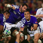 Kahn Fotuali'i, Samoa, in action during the South Africa V Samoa, Pool D match during the IRB Rugby World Cup tournament. North Harbour Stadium, Auckland, New Zealand, 30th September 2011. Photo Tim Clayton...