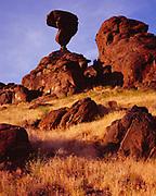 Balanced Rock, a 40-ton basalt boulder, 48-feet-tall on a 3-foot by 17-inch pedestal, near Castleford and Buhl, Idaho.