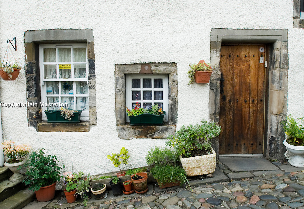 Detail of exterior of historic old house in National Trust for Scotland village of Culross in Fife Scotland