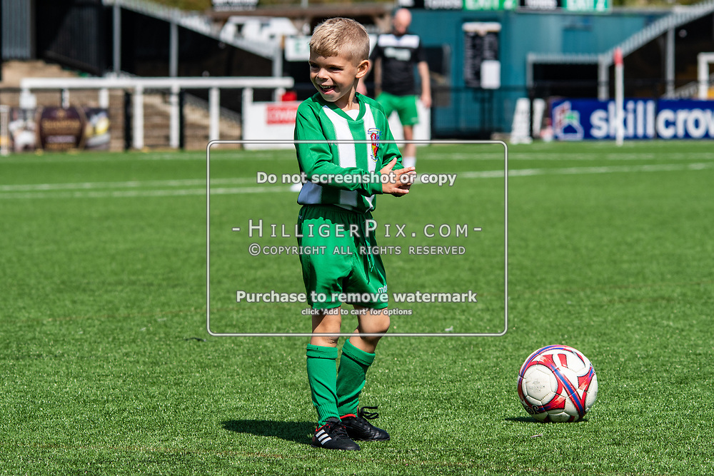 BROMLEY, UK - AUGUST 25: <br /> A young Rusthall fan on there pitch before the FA Cup Preliminary Round match between Cray Wanderers and Rusthall at Hayes Lane on August 25, 2018 in Bromley, UK. (Photo: Jon Hilliger / Cray Wanderers)