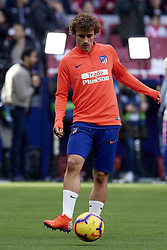 February 9, 2019 - Madrid, Madrid, Spain - Antoine Griezmann of Atletico Madrid during the warm-up before the week 23 of La Liga between Atletico Madrid and Real Madrid at Wanda Metropolitano stadium on February 09 2019, in Madrid, Spain. (Credit Image: © Jose Breton/NurPhoto via ZUMA Press)