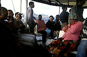 Passengers in the old ferry boat  that links the cosmopolitan island of Sao Vicente to the agricultural island of Santo Antao.