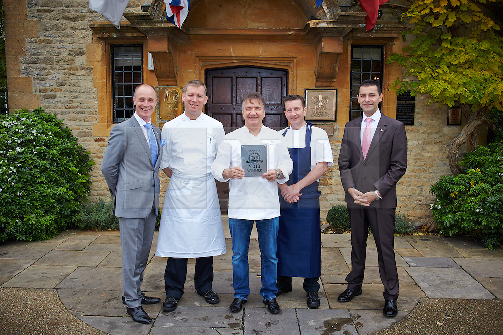 © Licensed to London News Pictures.  31/10/2013. GREAT MILTON, UK. Le Manoir aux Quat Saisons in Great Milton, Oxfordshire, has been named the best restaurant in the UK by website TripAdvisor in their 2013 Traveller's Choice awards. The two Michelin starred restaurant was 5th in Europe and 7th worldwide. <br /> <br /> In this picture (L to R): Gurval Durand, Benoit Blin (Chef Patissier), Raymond Blanc, Gary Jones (Executive Head Chef), Elvio Freitas<br /> <br /> Photo credit: Cliff Hide/LNP