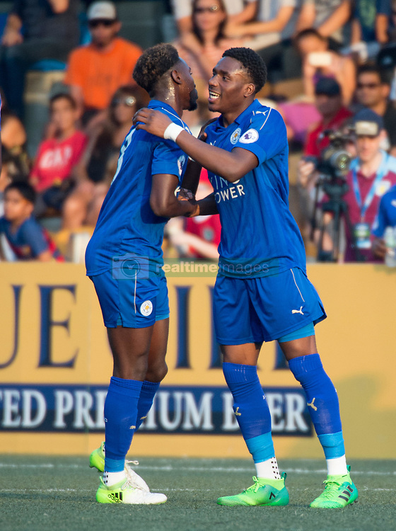 May 28, 2017 - Hong Kong, Hong Kong SAR, China - Lamine Kaba Sherif congratulates Josh Eppiah (R) on scoring Leicesters second goal.Leicester City win their second HKFC Citi Soccer Sevens title following a 3-0 victory over defending champions Aston Villa in the final.2017 Hong Kong Soccer Sevens at the Hong Kong Football Club Causeway Bay. (Credit Image: © Jayne Russell via ZUMA Wire)