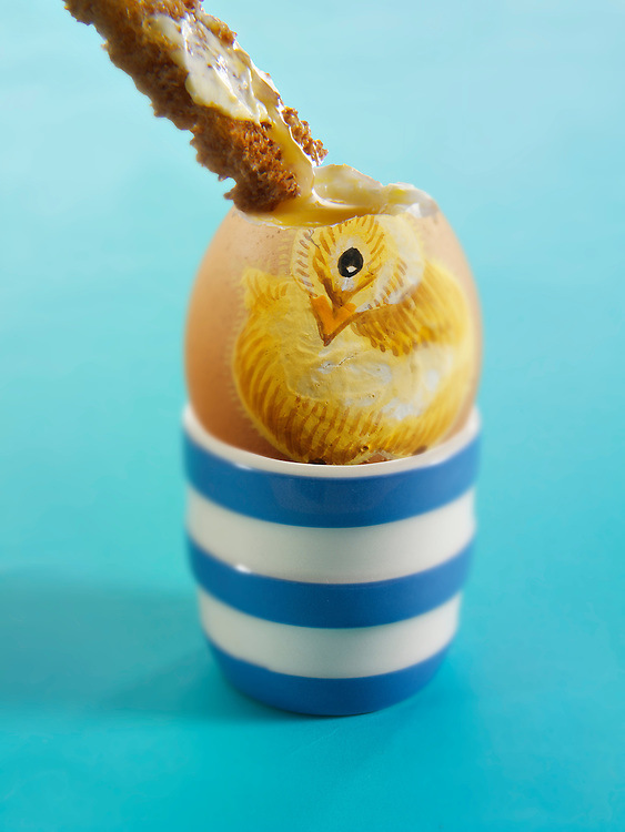 Traditional decorated Easter eggs with Easter chic design