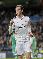 Real Madrid Midfielder, Gareth Frank Bale - BALE, number 11 celebrates after scoring a goal (2,0). Round 6 of the CHAMPIONS league, soccer match between Real Madrid - Ludogorets Razgrad <br /> Madrid - Spain by December 9, 2014. .<br /> Norway only