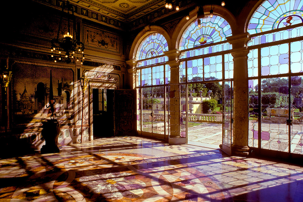 Vizcaya Palace Grand Ballroom in Coral Gables Miami Florida. A National Historic Landmark owned by Dade County. Photo angle is facing south. Built by James Deering in 1910, Gilded Age meets dawning of Jazz Age with Euopean palatial Flair.