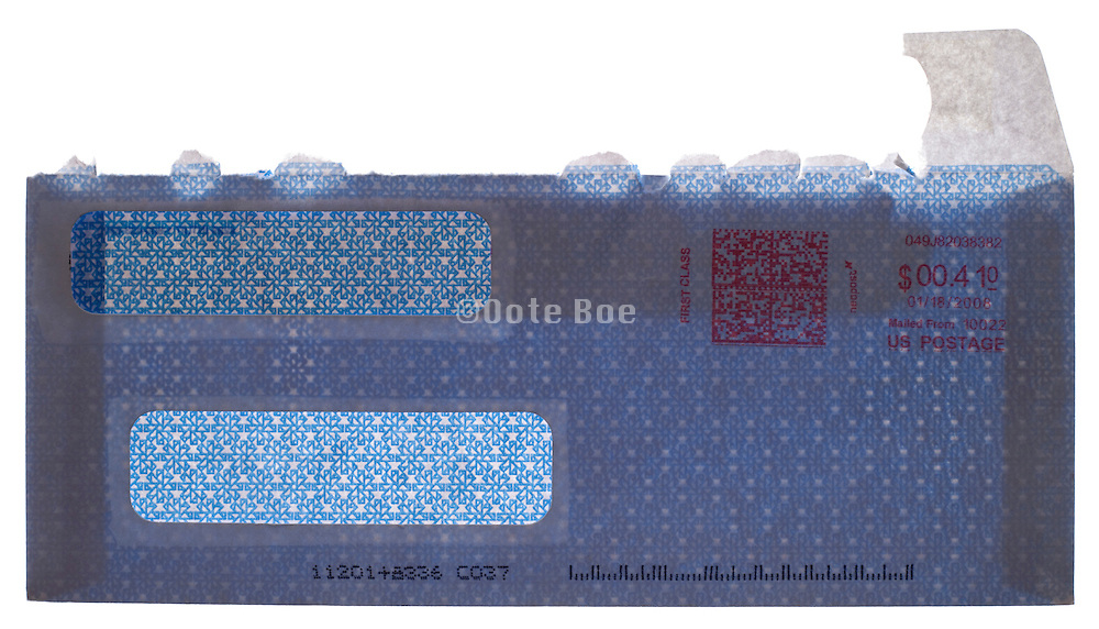 opened bill security envelope with two windows