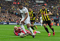 Football - 2018 / 2019 Emirates FA Cup - Semi-Final: Wolverhampton Wanderers vs. Watford<br /> <br /> Ivan Cavaleiro of Wolves rounds Watford goalkeeper, Heurelho Gomes and Adrian Mariappa but fails to score in the last minutes, at Wembley Stadium.<br /> <br /> COLORSPORT/ANDREW COWIE
