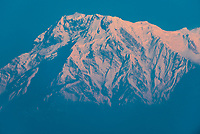 7219 m (23,684 ft) Annapurna South, one of the peaks of the Annapurna Massif of the Himalayas, seen from Sarangkot, near Pokhara, Nepal.