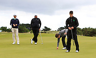 the GUI National panel players who are taking part in the Walker cup next week practicing with Neil Manchip and Tony Goode at Portmarnock on Wednesday 2nd September 2015.<br /> Picture:  Thos Caffrey / www.golffile.ie