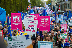 © Licensed to London News Pictures. 19/10/2019. London, UK. Placards at the People's Vote demonstration in central London. Photo credit: Peter Manning/LNP