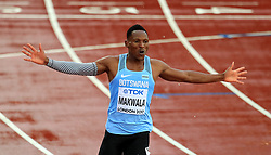 Botswana's Isaac Makwala celebrates after taking part in an individual time trial in an attempt to qualify for the 200m semi-finals during day six of the 2017 IAAF World Championships at the London Stadium.