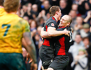 Mike Tindall lifts Chris Ashton after Ashton's first try during the Investec series international between England and Australia at Twickenham, London, on Saturday 13th November 2010. (Photo by Andrew Tobin/SLIK images)
