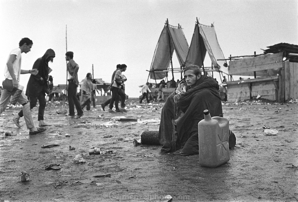 Rock Festival fans in the rain at the Woodstock rock festival at Max Yasgur's 600 acre farm, in the rural town of Bethel, NY, on the weekend of August 16-18, 1969.
