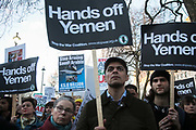 Protesters agains the visit by Saudi prince Bin Salman gather opposite Downing Street March 7th 2018 in London, United Kingdom. Many are angry at the Saudi involvement and continued bombing in Yemen with tens of thousands of civilian casualties and many more displaced by the war. (photo by Kristian Buus/In Pictures via Getty Images)