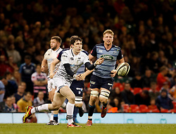 Ospreys' Sam Davies gets the ball away<br /> <br /> Photographer Simon King/Replay Images<br /> <br /> Guinness PRO14 Round 21 - Cardiff Blues v Ospreys - Saturday 28th April 2018 - Principality Stadium - Cardiff<br /> <br /> World Copyright © Replay Images . All rights reserved. info@replayimages.co.uk - http://replayimages.co.uk