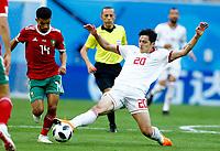 Mbark Boussoufa (Morocco) and Sardar Azmoun (Iran)<br /> Saint Petersburg 15-06-2018 Football FIFA World Cup Russia  2018 <br /> Morocco - Iran / Marocco - Iran <br /> Foto Matteo Ciambelli/Insidefoto