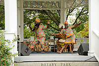 Akwaaba Ensemble performs traditional African dance and drum at Rotary Park during Laconia's Multicultural Festival on Saturday.  (Karen Bobotas/for the Laconia Daily Sun)