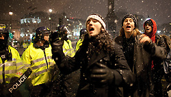 © under license to London News Pictures. 30/11/2010: Students  in London continue to protest against cutbacks and the coalition government's proposed rise in tuition fees. Awaiting release from a police kettle in Trafalgar Square, these protesters formed a conga line
