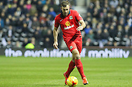 Blackburn Rovers defender Tommy Spurr on the ball during the Sky Bet Championship match between Derby County and Blackburn Rovers at the iPro Stadium, Derby, England on 24 February 2016. Photo by Aaron  Lupton.