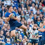 DUBLIN, IRELAND:  September 25:   James Lowe #11 of Leinster takes a high kick during the Leinster V Bulls, United Rugby Championship match at Aviva Stadium on September 25th, 2021 in Dublin, Ireland. (Photo by Tim Clayton/Corbis via Getty Images)