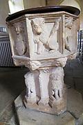 Carved stone lion baptismal font, Church of Saint Gregory, Rendlesham, Suffolk, England, UK