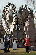 Moscow, Russia, 23/04/2011..Soviet symbols and statues of Soviet leaders, including Lenin and Stalin, in the Sculpture Park between the Central House of Artists and the New Tretyakov Gallery. The Communist statues were brought to the park in 1991 after the fall of the Soviet Union, and the park now has now grown and become home to several hundred statues on various themes.