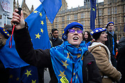 Anti Brexit pro Europe demonstrators protest waving European Union flags in Westminster opposite Parliament on the day MPs vote on EU withdrawal deal amendments on 29th January 2019 in London, England, United Kingdom.