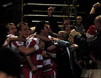 Photo: Jed Wee.<br /> Doncaster Rovers v Arsenal. Carling Cup. 21/12/2005.<br /> <br /> Doncaster celebrate with the fans after their early goal.