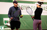 Bianca Andreescu of Canada with Sylvain Bruneau during practice ahead of the Roland-Garros 2021, Grand Slam tennis tournament, Qualifying, on May 28, 2021 at Roland-Garros stadium in Paris, France - Photo Rob Prange / Spain ProSportsImages / DPPI / ProSportsImages / DPPI