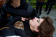 Pro-Assad demonstrators are treated after being sprayed with pepper spray as they hold a rally outside the Second Conference of the Group of Friends of the Syrian People, held at the Istanbul Congress Centre on April 1st 2012. Bradley Secker / ENN