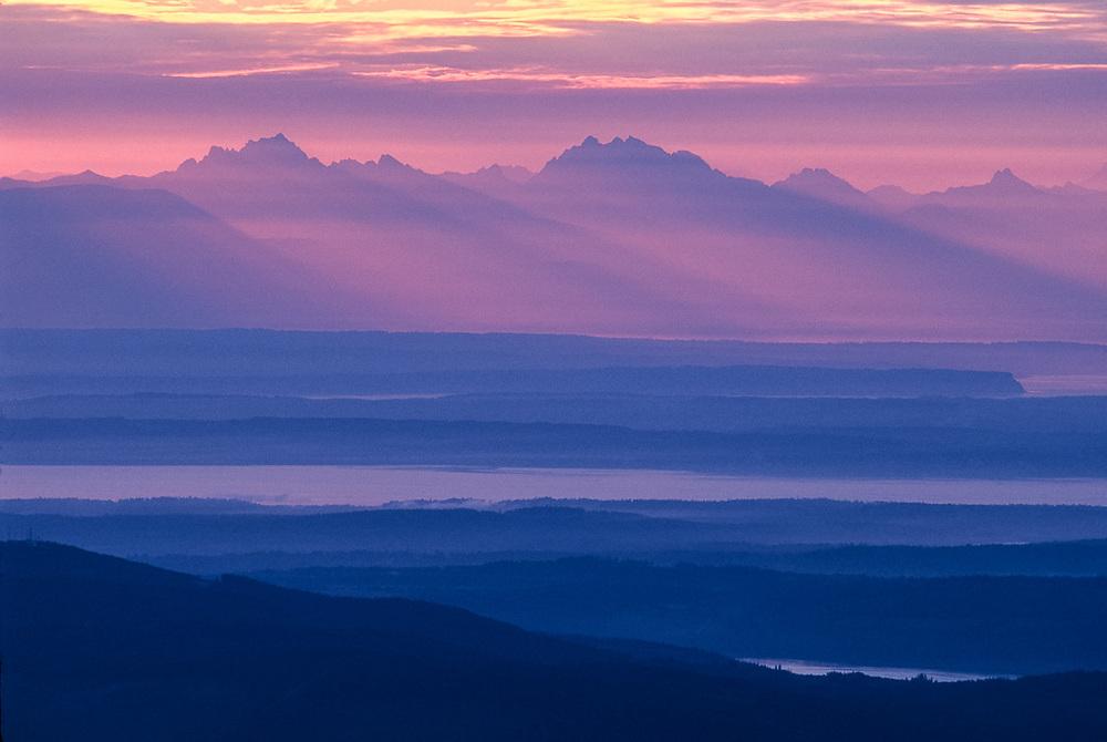 View frfom Blue Mountain toward the Cascade Range, sunrise, summer, Olympic National Park, Washington, USA