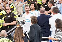 Real Madrid's Sergio Ramos and Marcelo during La Liga match between Real Madrid and Valencia CF at Santiago Bernabeu Stadium in Madrid, Spain August 27, 2017. (ALTERPHOTOS/Borja B.Hojas)