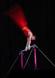 August 24, 2018 - Jakarta, Indonesia - A gymnast performs at the Artistic Gymnastics Men's Horizontal Bar Final at the Asian Games 2018 in Jakarta, Indonesia. (Credit Image: © Li Xiang/Xinhua via ZUMA Wire)