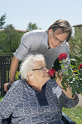Son with disabled mother smelling rose flower at park, Bavaria, Germany