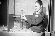 Young Scientists Exhibition.1969..01/01/1969.1st January 1969..The Aer Lingus Young Scientist Exhibition 1969 at the RDS..Picture shows Eleanor Foley, a pupil of Scoil Mhuire Cork putting the finishing touches to her exhibit showing the acidity and alcoholic levels of various home-made wines..