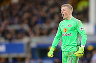 Sunderland Goalkeeper Jordan Pickford shouts instructions. Premier league match, Everton v Sunderland at Goodison Park in Liverpool, Merseyside on Saturday 25th February 2017.<br /> pic by Chris Stading, Andrew Orchard sports photography.