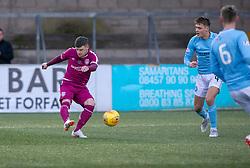 Arbroath's Bobby Linn scoring their first half goal. half time : Forfar Athletic 0 v 1 Arbroath, Scottish Football League Division One played 8/12/2018 at Forfar Athletic's home ground, Station Park, Forfar.