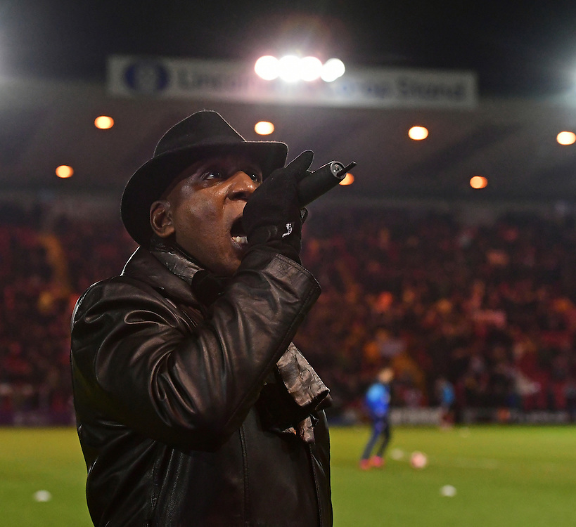 Actor Colin McFarlane announces the teams<br /> <br /> Photographer Chris Vaughan/CameraSport<br /> <br /> Emirates FA Cup Third Round Replay - Lincoln City v Ipswich Town - Tuesday 17th January 2017 - Sincil Bank - Lincoln<br />  <br /> World Copyright © 2017 CameraSport. All rights reserved. 43 Linden Ave. Countesthorpe. Leicester. England. LE8 5PG - Tel: +44 (0) 116 277 4147 - admin@camerasport.com - www.camerasport.com