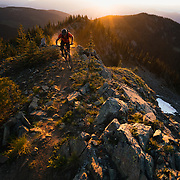 Tucker Braund rides the upper section of the legendary Power Slave trail in Nelson, British Columbia