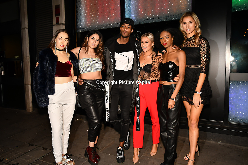 Chloe Adlerstein, Claudia Sowaha, Stefan Pierre, Frankie Maddin, Tonique Campbell and Lilly Douse attend Bachelor girls wrap party after Channel 5 serial of The Bachelor girls 2019 UK  17 desperate female complete to win Alex Marks. Five Eliminated girls continues enjoy the single life party at Balle Ballerson in fact, in the UK there are 1.1 millions female more than male on 27 March 2019, London, UK.