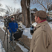 Michael Mahoney and Lasaro Abalos (@heycameraman) prepare for a news report from near the explosion site of JJ's Restaurant, Kansas City, MO.