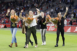 (L-R) Stefanie van der Gragt of Ajax women, Liza van der Most of Ajax women, Kelly Zeeman of Ajax women, Cisca Folkertsma of Ajax women, Desiree van Lunteren of Ajax women during the UEFA Europa League fourth round qualifying first leg match between Ajax Amsterdam and RosenBorg BK at the Amsterdam Arena on August 17, 2017 in Amsterdam, The Netherlands