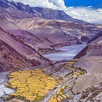 Kagoeni village on the old salt route between Nepal and Tibet.  Kali Gandaki (Thak Khola) River